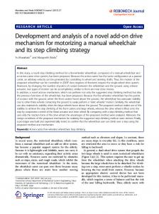 Development and analysis of a novel add-on drive mechanism for motorizing a manual wheelchair and its step climbing strategy