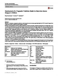 Development of a Prognostic Prediction Model to Determine Severe Dengue in Children