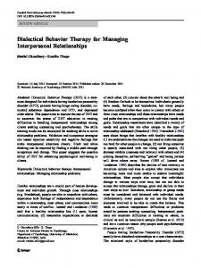 Dialectical Behavior Therapy for Managing Interpersonal Relationships