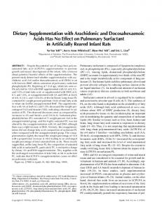 Dietary supplementation with arachidonic and docosahexaenoic acids has no effect on pulmonary surfactant in artificially reared infant rats