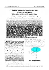 Differences in adsorption of anionic surfactant AOT by calcium oxalate: Effect of crystal size and crystalline phase