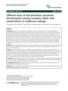 Different faces of discrimination: perceived discrimination among homeless adults with mental illness in healthcare settings
