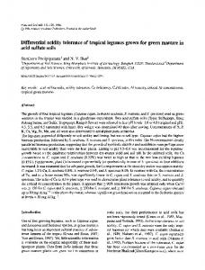 Differential acidity tolerance of tropical legumes grown for green manure in acid sulfate soils