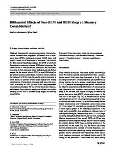 Differential Effects of Non-REM and REM Sleep on Memory Consolidation?