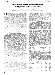 Discussion of the determination of glycerin in fats and oils
