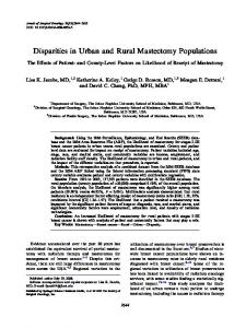 Disparities in Urban and Rural Mastectomy Populations