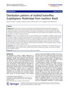 Distribution patterns of riodinid butterflies (Lepidoptera: Riodinidae) from southern Brazil
