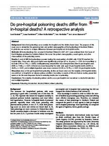 Do pre-hospital poisoning deaths differ from in-hospital deaths? A retrospective analysis