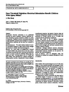 Does Threshold Nighttime Electrical Stimulation Benefit Children With Spina Bifida?: A Pilot Study