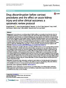 Drug discontinuation before contrast procedures and the effect on acute kidney injury and other clinical outcomes: a systematic review protocol