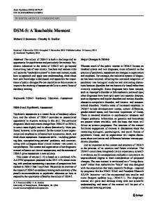 DSM-5: A Teachable Moment