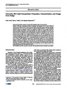 Duloxetine HCl Lipid Nanoparticles: Preparation, Characterization, and Dosage Form Design