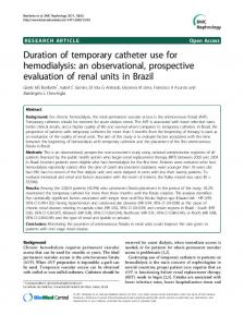 Duration of temporary catheter use for hemodialysis: an observational, prospective evaluation of renal units in Brazil
