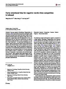 Early attentional bias for negative words when competition is induced