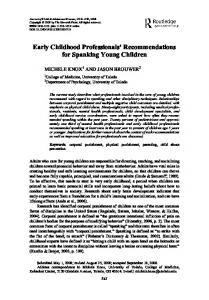Early Childhood Professionals' Recommendations for Spanking Young Children