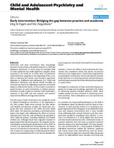 Early intervention: Bridging the gap between practice and academia