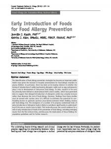 Early Introduction of Foods for Food Allergy Prevention