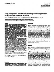 Early postoperative renal function following renal transplantation surgery: effect of anesthetic technique