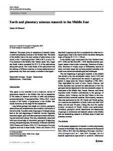 Earth and planetary sciences research in the Middle East