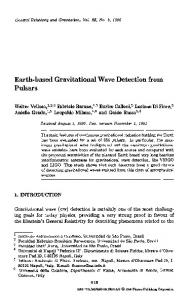 Earth-based gravitational wave detection from pulsars