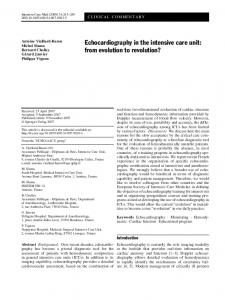 Echocardiography in the intensive care unit: from evolution to revolution?