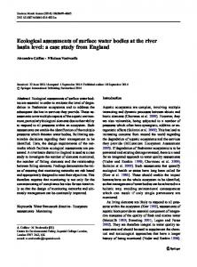 Ecological assessments of surface water bodies at the river basin level: a case study from England