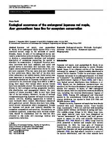 Ecological occurrence of the endangered Japanese red maple, Acer pycnanthum: base line for ecosystem conservation