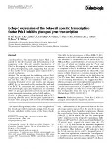 Ectopic expression of the beta-cell specific transcription factor Pdx1 inhibits glucagon gene transcription
