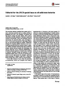 Editorial for the JECR special issue on all solid-state batteries