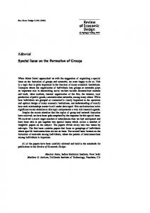 Editorial Special Issue on the Formation of Groups