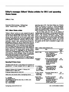 Editor's message: Editors' Choice articles for 2011 and upcoming theme issues