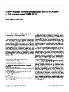 Editors' Message: Eminent hydrogeologists profiled in 20 years of Hydrogeology Journal (1992–2012)