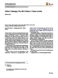 Editor's Message: The 2015 Editors' Choice articles