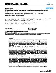 Effect of a chemical manufacturing plant on community cancer rates