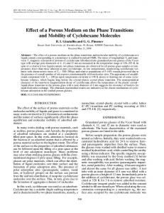 Effect of a porous medium on the phase transitions and mobility of cyclohexane molecules