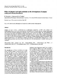 Effect of abscisic acid and cytokinins on the development of somatic embryos in Hevea brasiliensis