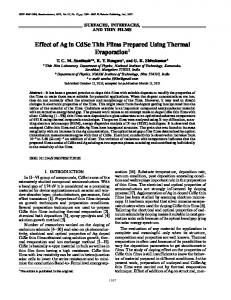 Effect of Ag in CdSe thin films prepared using thermal evaporation