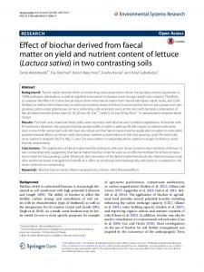 Effect of biochar derived from faecal matter on yield and nutrient content of lettuce (Lactuca sativa) in two contrasting soils