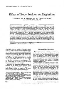 Effect of body position on deglutition