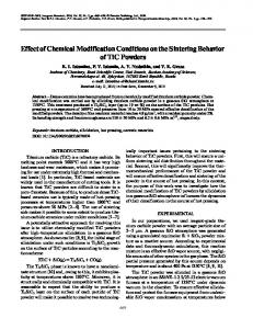 Effect of chemical modification conditions on the sintering behavior of TiC powders