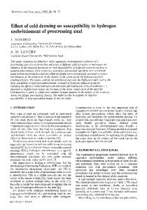 Effect of cold drawing on susceptibility to hydrogen embrittlement of prestressing steel