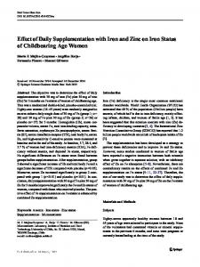 Effect of Daily Supplementation with Iron and Zinc on Iron Status of Childbearing Age Women