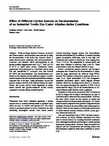 Effect of Different Carbon Sources on Decolourisation of an Industrial Textile Dye Under Alkaline–Saline Conditions