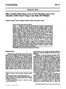 Effect of Gastric Fluid Volume on the In Vitro Dissolution and In Vivo Absorption of BCS Class II Drugs: a Case Study with Nifedipine