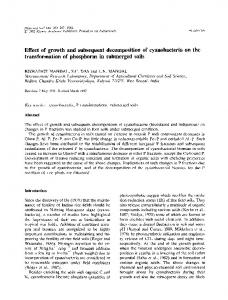 Effect of growth and subsequent decomposition of cyanobacteria on the transformation of phosphorus in submerged soils