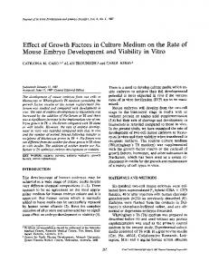 Effect of growth factors in culture medium on the rate of mouse embryo development and viability in vitro