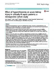 Effect of hyperchloremia on acute kidney injury in critically ill septic patients: a retrospective cohort study