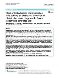 Effect of individualized communication skills training on physicians' discussion of clinical trials in oncology: results from a randomized controlled trial