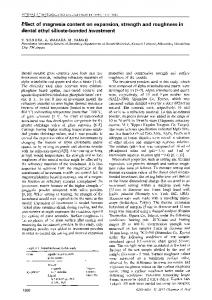 Effect of magnesia content on expansion, strength and roughness in dental ethyl silicate-bonded investment