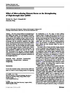 Effect of Micro-alloying Element Boron on the Strengthening of High-Strength Steel Q690D